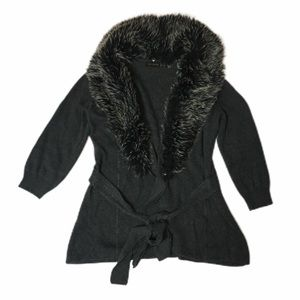 The Limited Faux Fur Collar Wrap Tie Open Cardigan